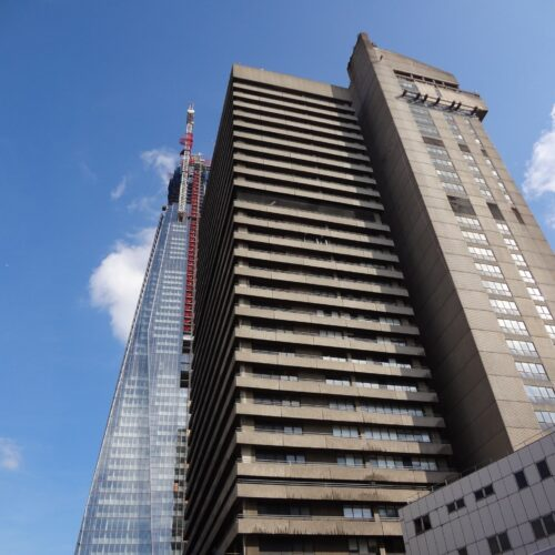 Guys_Hospital_tower_-_perspective_of_the_Shard_Building_in_Sept.