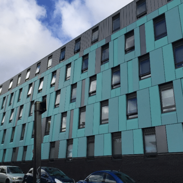 Optima TFC rainscreen cladding in PPC finish brings colour to luxury student accommodation development, the Foundry