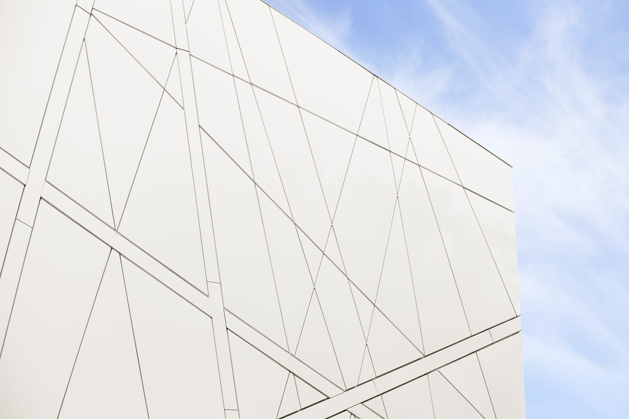 The Manchester Cancer Research Centre (MCRC) - Close up of signal white panels which make up the geometric effect of the main elevation