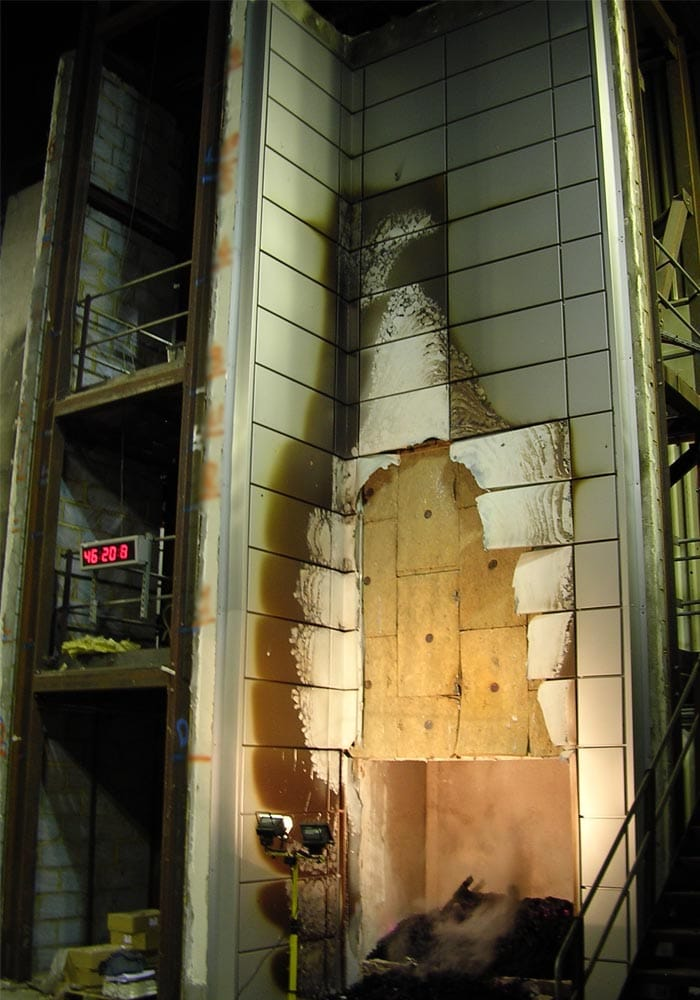 Rainscreen cladding fire testing and performance