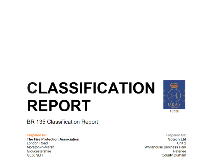 FPA Classification Report - BR135 - 3mm Aluminium, PPC Finish on Optima TFC+