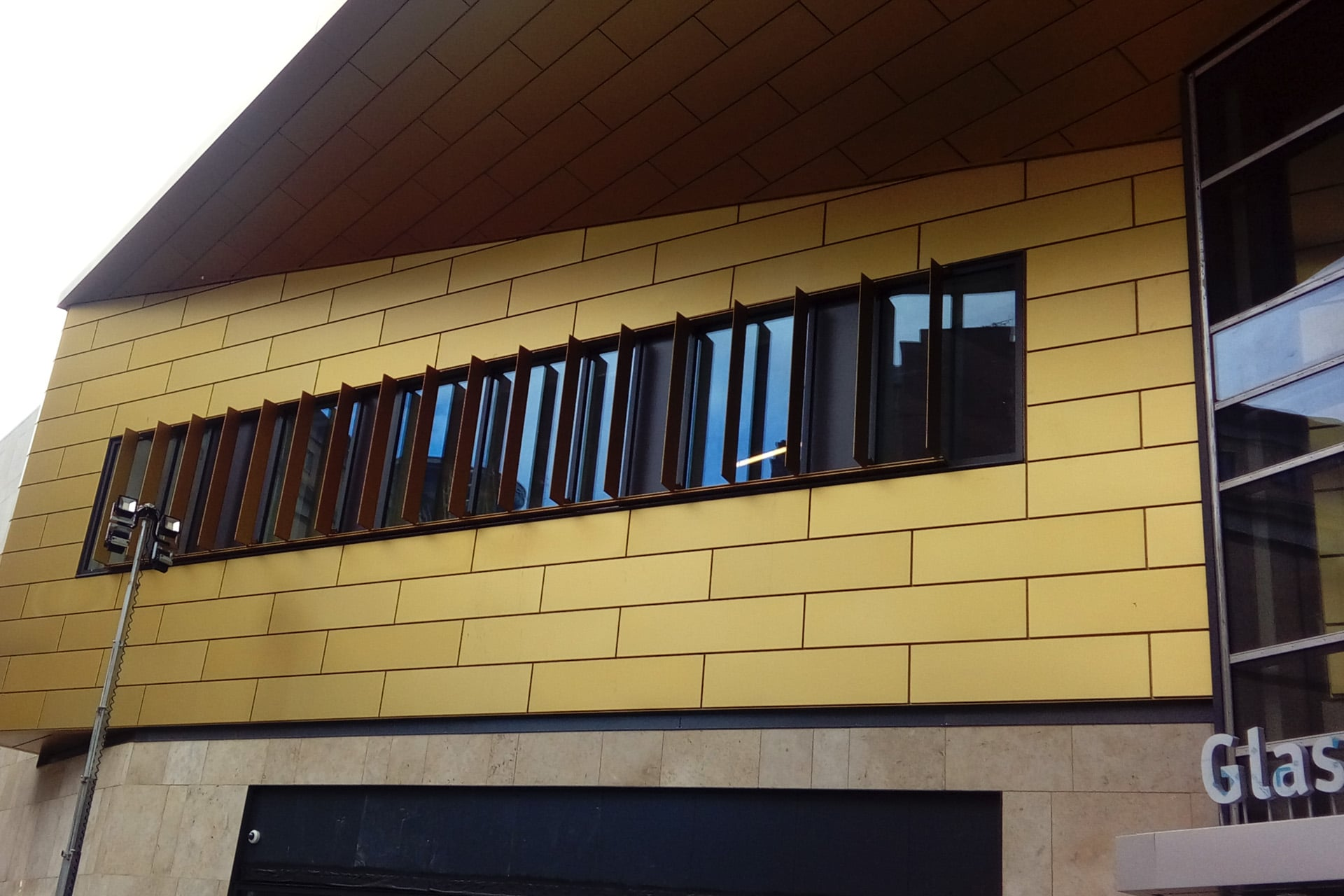 Anodised rainscreen cladding panels Glasgow Queen Street station